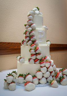 White Chocolate Strawberry Wedding Cake