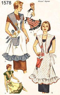 Vintage 50s Apron Pattern Uncut McCalls 1578 por ThePatternSource