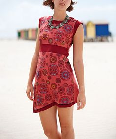 Look at this Jayli Rose Medallion Embroidered Cap-Sleeve Dress on #zulily today!