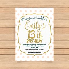 13th birthday invitation Girl Pink gold birthday by CoolStudio