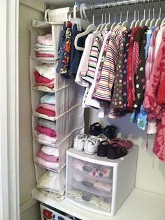Tall shoe oraganizer for onsies and 3 drawer plastic tote for shoes, socks, and stockings. Great idea!!