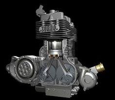 Neander Diesel Motorcycle Engine Detail.
