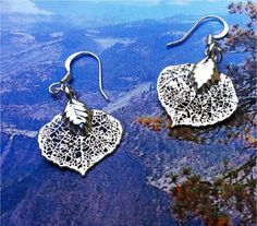 Baby Silver Aspen Leaf Earrings from Natures Leaves by Woodsmith. $17.95, via Etsy.
