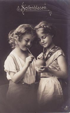early 1900s...Pretty Edwardian Girls...Sipping Straws...original vintage postcard...paper ephemera