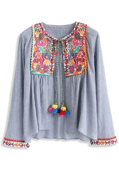 Folksy Color Embroidered Jacket with Pom Pom - Embroidery Design - Trend and Style - Retro, Indie and Unique Fashion Unique Fashion, Look Fashion, Womens Fashion, Striped Jacket, Gray Jacket, Indie, Led Dress, Bohemian Mode, Hippie Chic