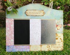 Pizarra y placa de hojalata, madera decorada con Decoupage sellos Stencil y falsos acabado, espero que les guste!