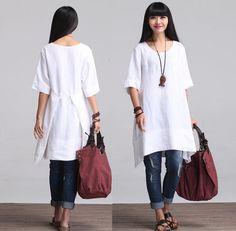 Round Neck Maxi Dress - Summer Dress - Linen Sundress for Women-Short Sleeved-white/orange