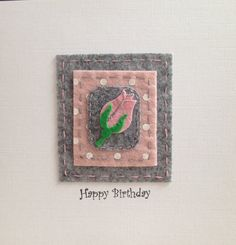 A SET OF THREE Handmade Birthday Cards stitched textile | Etsy Felt Christmas Decorations, Tree Decorations, Textile Design, Textile Art, Hare Pictures, Unique Trees, Fabric Pictures, Felt Mouse, Square Card