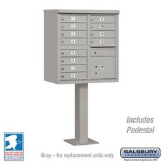 Salsbury Industries 3312GRY-U Cluster Box Unit - 12 A Size Doors - Type II - Gray - USPS Access by Salsbury Industries. $1080.00. mfr: Salsbury Industries Cluster Box Unit (Includes Pedestal) - 12 A Size Doors - Type II - Gray - USPS Access. Save 10%!