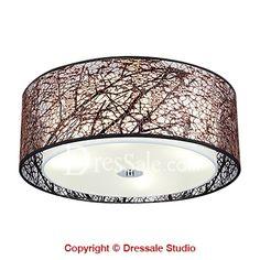Coffee Color Four LED Bulb Lighted Modern Flush Mount Ceiling Light - $109 at Dressale