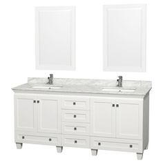 Wyndham Collection Acclaim White (Common: 72-In X 22-In) Undermount Do
