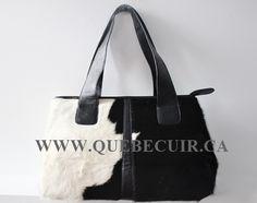 Big black and white cowhide handbag