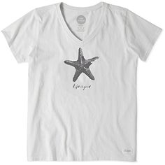 Life is good Womens Watercolor Starfish Vee Crusher Tee Large Cloud White -- Check this out by going to the link at the image.