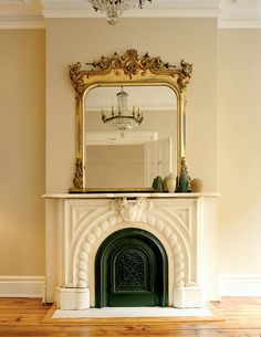 antique mirror, fireplace