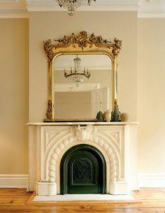 antique mirror, fireplace