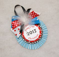 Dr. Seuss Stripes and Polka Dots Baby's 1st Christmas Keepsake Ornament by shoplissy, $7.45