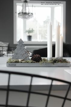 The Ernst candle tray from Royal Design of Sweden, designed by Ernst Kirchsteiger. Here, filled with moss, a pine cone, and a little silver fir tree it combines nature and modern minimalist and in one elegant Advent candle holder. Candle Tray, Advent Candles, Candle Holders, Christmas Décor, Christmas Ideas, Christmas Decorations, Table Decorations, Silver Fir, Royal Design