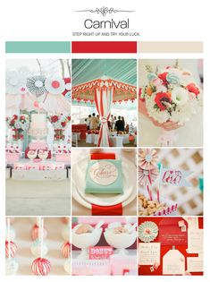 Carnival, aqua, red and off white wedding inspiration board, color palette, mood board via Weddings Illustrated