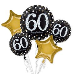 60Th Happy Birthday Foil Balloon Bouquet Black Silver Gold Age 60 Decorations