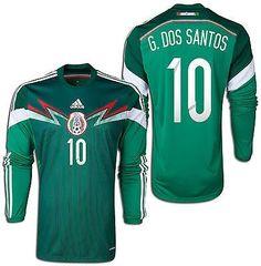 ADIDAS G. DOS SANTOS MEXICO LONG SLEEVE HOME JERSEY FIFA WORLD CUP BRAZIL 2014.