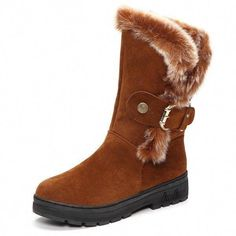 2d6eabdeb69c Designer Letter Warm Fur Lining Slip On Flat Ankle Snow Boots For Women -  NewChic Mobile.