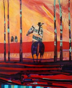 [the red road home]. Linus Woods is a Dakota/Ojibway Indian artist from the Long Plain First Nation in Southern Manitoba where he born June 3, 1967.