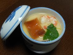 Custard-like egg and vegetable dish steamed in a cup on Yubeshi.