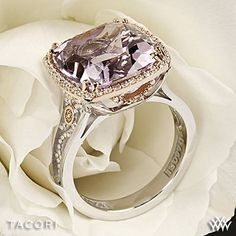 Sapphire Gemstones Rose Gold Plated Sterling Silver Morganite and Diamond Ring: Dear god. Tacori Blushing Rose Amethyst and Diamond Ring I Love Jewelry, Fine Jewelry, Amethyst And Diamond Ring, Do It Yourself Jewelry, Right Hand Rings, Beautiful Rings, Krystal, Just In Case, Jewelry Accessories