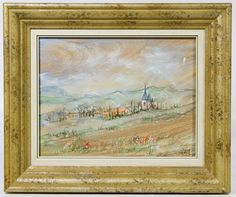 Lot 221: Edna Hibel (American, 1917-2015) Oil on Board; Undated, signed lower right and en verso, depicting a village landscape