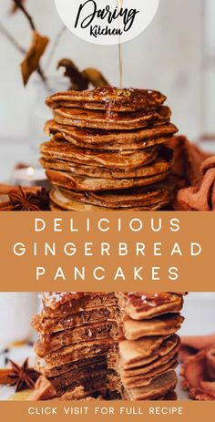 These vegan gingerbread pancakes have seasonal spice in every bite. They are vegan and free of highly processed sugars. They also are super quick to make! Best Vegan Recipes, Vegan Dinner Recipes, Healthy Breakfast Recipes, Vegan Dinners, Vegan Desserts, Raw Food Recipes, Gingerbread Pancakes, Vegan Gingerbread, Good Food