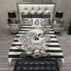 Pastel Flower and Skull Striped Duvet Bedding Sets - Ink and Rags