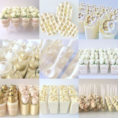 White Dessert Tables, Gold Dessert, White Desserts, Dessert Cups, Mini Desserts, Party Desserts, Dessert Shooters, Ballerina Party, Cupcakes