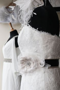 pronovias wedding gown dressed up with belts and a fascinator