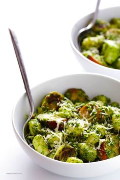 Gnocchi with Brussels Sprouts, Chicken Sausage and Kale Pesto -- quick and easy to make and SO flavorful! | gimmesomeoven.com