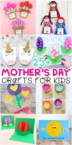 Mother's Day Crafts for Kids -The Best Crafts for Mom and Grandma! 25+ Best Mother's Day crafts for kids -Easy Mother's Day cards, flower crafts and gifts for kids to make for mom and grandma. #mothersdayideas #mothersdaycards #iheartcraftythings