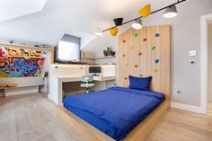 Modern Kids Beds, Modern Kids Bedroom, Modern Room, Design Loft, Villa Design, Kids Room Design, Blue Cabinets, Fireplace Design, Modern Fireplace