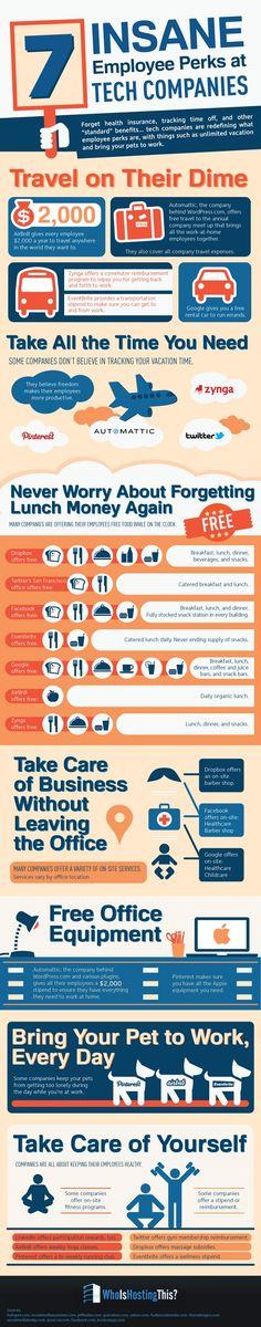Infographic: 7 Insane Employee Perks at Tech Companies Digital Communication, Cv Curriculum Vitae, Employee Benefit, Employer Branding, Employee Engagement, Work Life Balance, Human Resources, Job Search, Good To Know