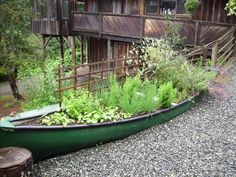 "DIY Garden Art. Repurpose old canoes into one-of-a-kind gardens. The last four years we have let our three youngest grandsons play in our ""vintage"" boat, this year we want to plant in it(so do the boys)....love old boats!"