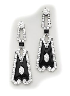 Art Deco Marquise-cut diamond, diamond, onyx and platinum earrings.