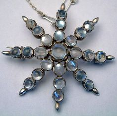 Large Antqiue Blue Moonstone Star Pendant Brooch