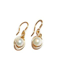 HAMMERED GOLD PEARL DROP EARRINGS
