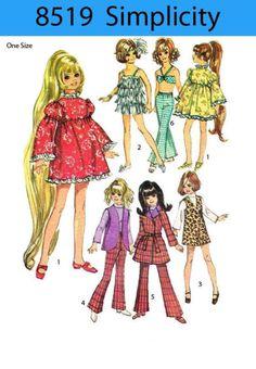 "Vintage 17 1/2 "" Crissy Dolls Clothes sewing pattern - fringe dress,bra,etc   eBay"
