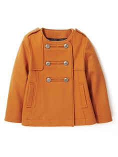 winter coat. precious.  VESTE PALETOT FILLE EN LAINAGE CITROUILLE