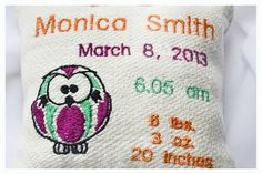 Owl Personalised birth Announcement Pillow New Baby by KoTshop, $20.00
