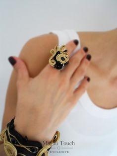 OOAK soutache bracelet black bracelet black soutache ring