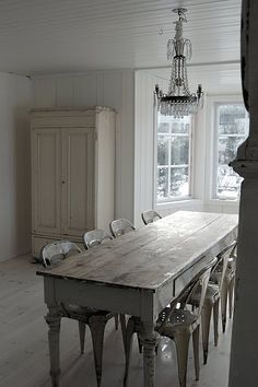 Love everything!!  Maybe not here yet, but when the kids no longer need an art studio/diningroom I'd love an all white room like this!