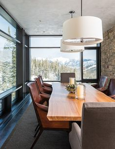 Mountain Modern Retreat by Pearson Design Group - raw edge slab table