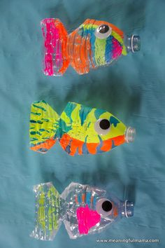 Find water bottle crafts for kids. 12 water bottle crafts for kids. They will love these plastic bottle craft ideas to keep them busy. Plastic bottle crafts are frugal and tons of fun for kids! Water Bottle Crafts, Plastic Bottle Crafts, Plastic Bottles, Water Bottles, Sensory Bottles, Water Crafts, Kids Crafts, Summer Crafts, Arts And Crafts