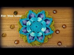 ▶ Flor em crochê Maxcolor - Professora Simone - YouTube