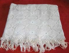 Antique Wedding 1930s Crochet Bedspread Lace Coverlet Huge Cover Handmade Decor